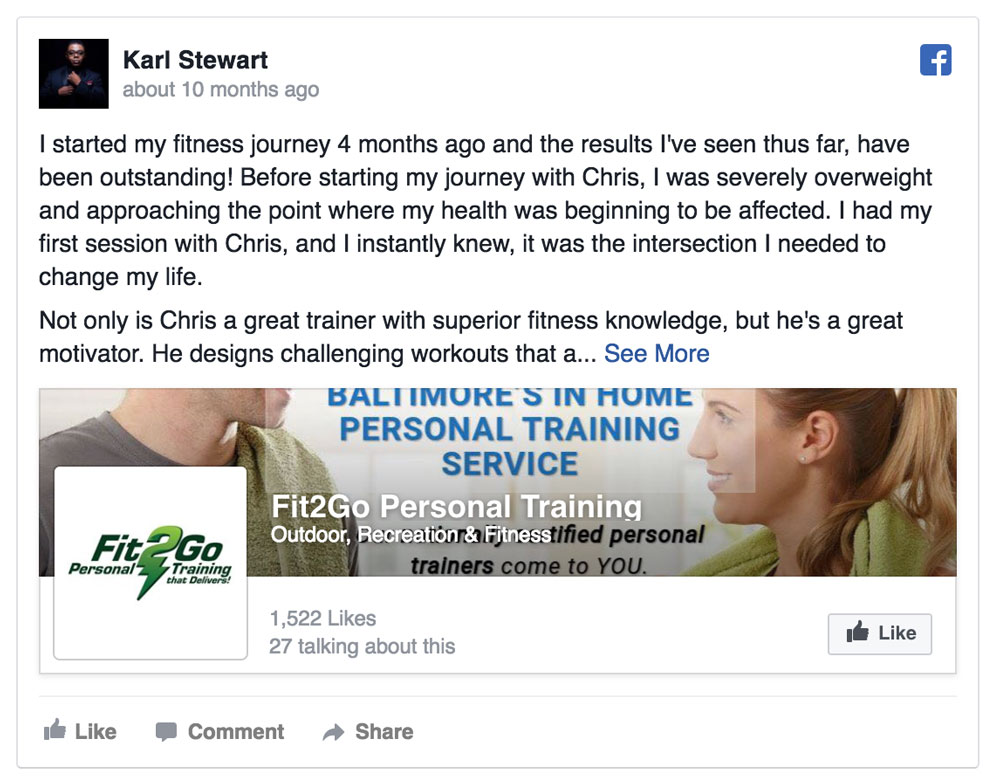 personal training testimonials baltimor
